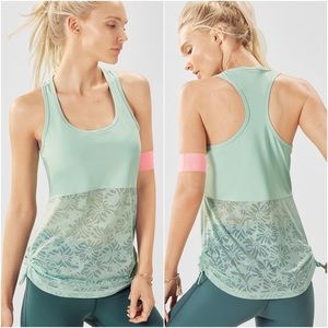 Fabletics • Mint Sheer Floral Workout Tank Top